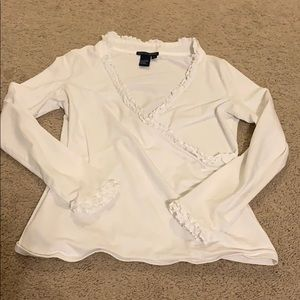 Boston Proper Ruffle shirt white Medium stretch
